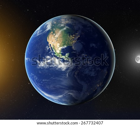 Day and night on earth. Elements of this image furnished by NASA - stock photo