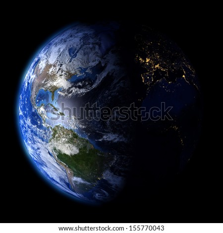 Day and night on planet Earth. Elements of this image furnished by NASA. Other orientations available. - stock photo