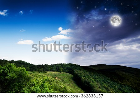 Day ang night background. Elements of this image furnished by NASA. - stock photo