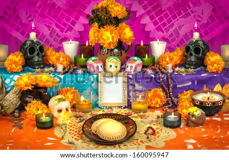 Day of the dead altar with sugar skulls - stock photo
