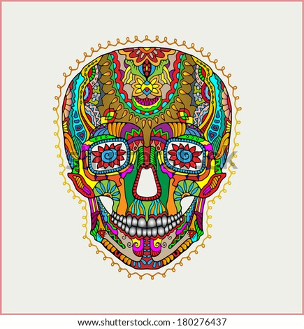 Day of The Dead colorful Skull with floral ornament, black and white background - raster version - stock photo
