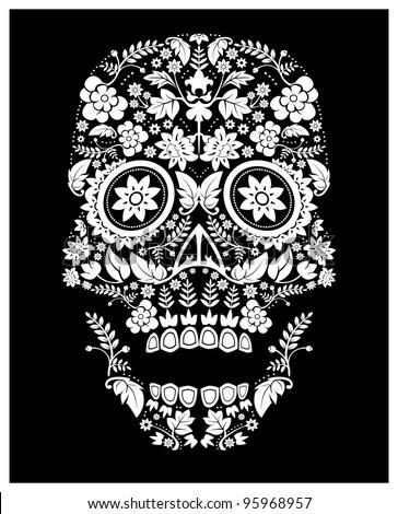 day of the dead skull pattern (raster version) - stock photo