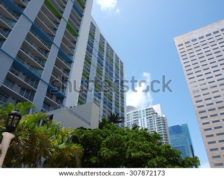 day scene image of buildings of downtown Miami - stock photo