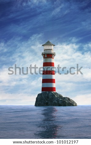 Day view of a red and white old lighthouse - stock photo