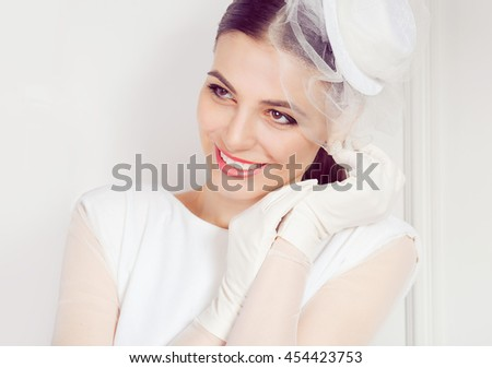 Daydream. Closeup portrait head shot happy mixed race daydreaming smiling cute confident bride female girl business woman isolated white background wall Positive human emotion feeling expression Retro - stock photo
