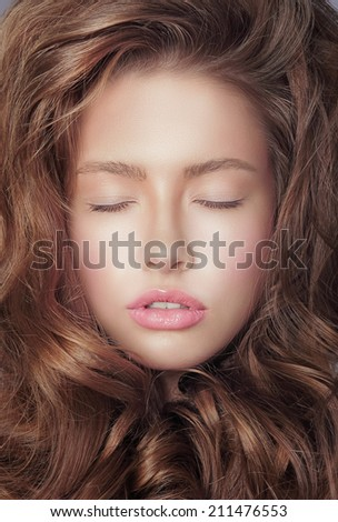 Daydream. Pensive Fresh Woman's Face with Closed Eyes and Curly Hair - stock photo