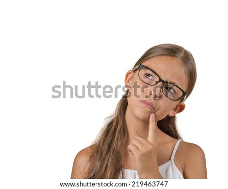 Daydreaming, confused. Closeup portrait, headshot thinking girl finger on lips gesture, looking up, isolated white background. Human facial expression, emotion, feeling, life perception, body language - stock photo