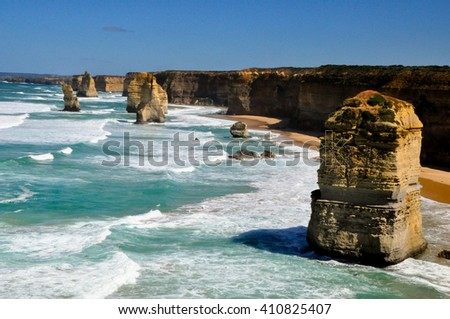 daylight view at coast of Twelve Apostles by Great Ocean Rd, Australia - stock photo