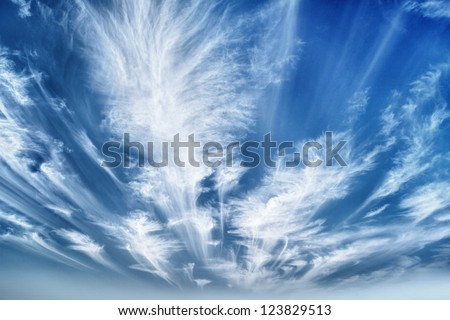 Daytime sky with cirrus and stratus clouds hdr wide-angle contrast daytime nature background - stock photo