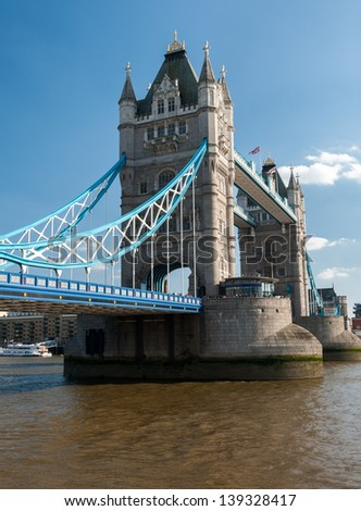Daytime view of Tower Bridge from the North Bank - stock photo