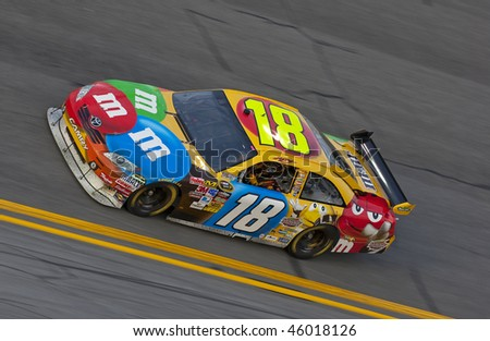 DAYTONA BEACH, FL - FEB 4:Kyle Busch brings out his M&M's Toyota for a practice session for the Budweiser Shootout event at the Daytona International Speedway Feb 4, 2010 in Daytona Beach, FL - stock photo