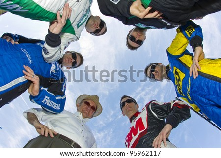 DAYTONA BEACH, FL - FEB. 22:  Members of the NASCAR team Roush Fenway pose for the Racing's annual photo day from Daytona International Speedway in Daytona Beach, FL on Feb 22, 2012. - stock photo