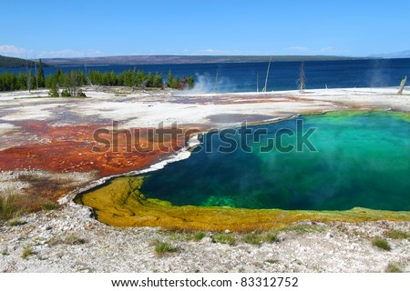Dazzling colors of Abyss Pool in the West Thumb Geyser Basin of Yellowstone National Park - stock photo