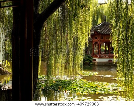 Dazzling View of Chinese Water Pavilion with Resplendent Weeping Willow & Exotic Lotus Leaves. - stock photo