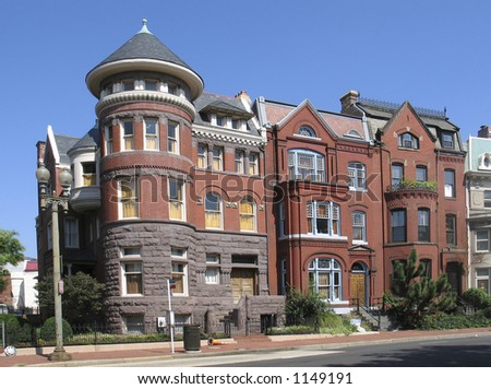 DC rowhouses- on the corner - stock photo