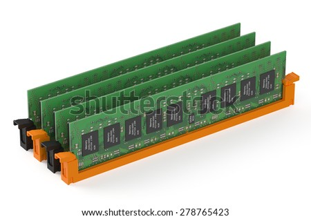 DDR4 memory modules  isolated on white background - stock photo