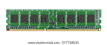 DDR RAM memory module isolated on white background - stock photo
