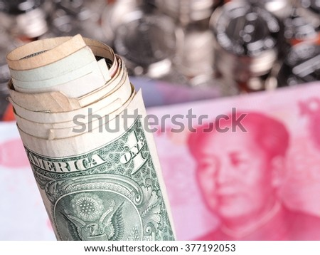 De-focussed background of Chinese Yuan bank notes - stock photo