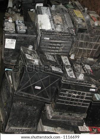 Dead Battery three - stock photo