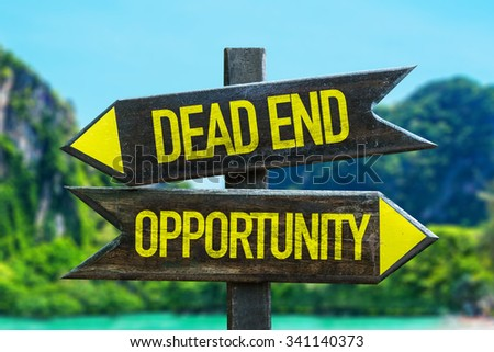 Dead End - Opportunity signpost in a beach background - stock photo