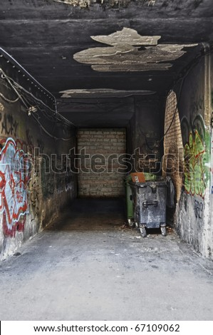 Dead End with Waste Bins - stock photo