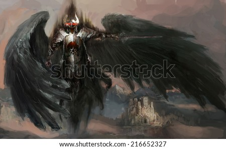 dead knight or fallen angel - stock photo