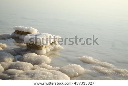 Dead Sea Dawn, Salt Rocks at The Dead Sea - stock photo