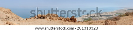 Dead Sea Panorama from a height of 400 meters - stock photo