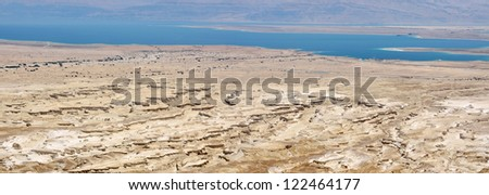 Dead Sea panoramic view from Masada, lowest place on the earth. - stock photo