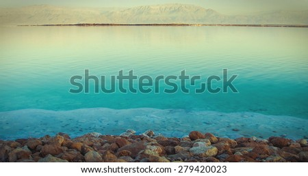 Dead Sea view in evening, Israel. Vintage effect - stock photo