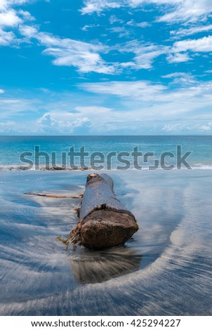 Dead tree / trunk laying on Candidasa beach in bali island with the sea and a cloudy blue sky in the background. Indonesia - stock photo