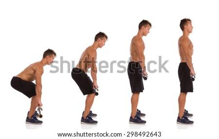 Deadlift Exercise Side View. Muscular man showing how to make a deadift exercise, side view, step by step.  Full length studio shot isolated on white. - stock photo