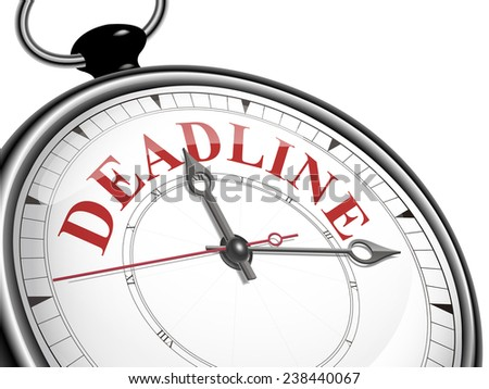 deadline concept clock isolated on white background - stock photo