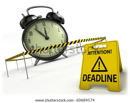 Deadline concept. Retro alarm clock behind danger tape and warning sign. - stock photo