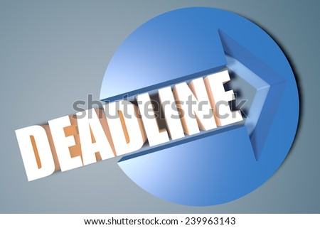 Deadline - 3d text render illustration concept with a arrow in a circle on blue-grey background - stock photo