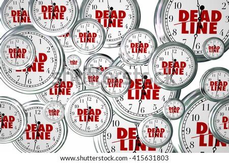 Deadline Due Dates Clocks Flying Urgent Words 3d Illustration - stock photo