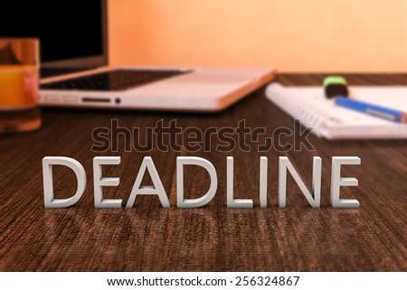 Deadline - letters on wooden desk with laptop computer and a notebook. 3d render illustration. - stock photo