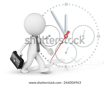 Deadline. The dude 3D character businessman rushing. Clock in background. - stock photo