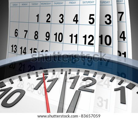 Deadlines and schedules of events and important dates represented by a calendar and a clock showing the concept of appointments and time management. - stock photo