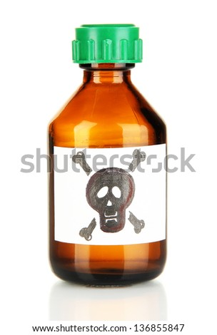 Deadly poison in bottle isolated on white - stock photo
