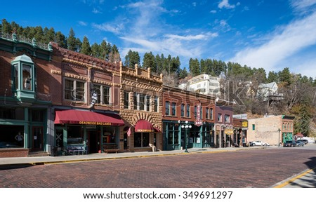 DEADWOOD, SOUTH DAKOTA - NOVEMBER 1: Historic downtown Main Street on November 1, 2015 in Deadwood, South Dakota  - stock photo