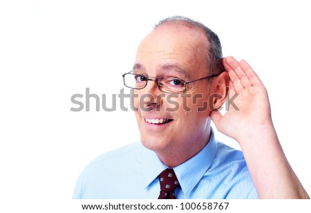 Deaf man. Isolated on white background. - stock photo