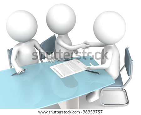 Deal done. 3D little human characters X3 making a deal. Business People series. - stock photo