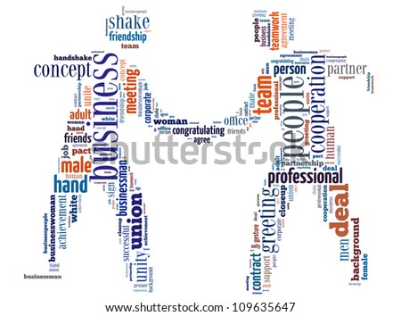 Deal info-text graphics and arrangement concept (word cloud) in the shape of businessman shake hand - stock photo