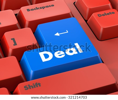 Deal Key On Keyboard Meaning Great Offers Or Offer - stock photo