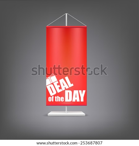 Deal of the day. Vertical red flag at the pillar. Advertising for your business events. - stock photo