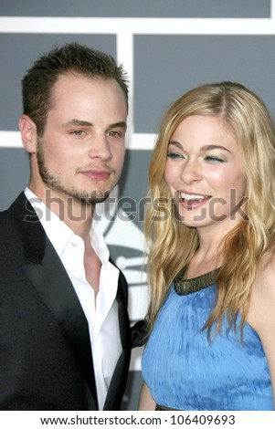Dean Sheremet and LeAnn Rimes at the 51st Annual GRAMMY Awards. Staples Center, Los Angeles, CA. 02-08-09 - stock photo
