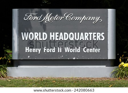 DEARBORN, MI - JULY 31: The Ford Motor Company World Headquarters located in Dearborn, Michigan on July 31, 2014. Ford Motor Company is an American multinational automobile corporation. - stock photo
