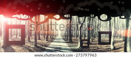 Death and birth, conceptual background. Image toned, noise added and vignetted - stock photo
