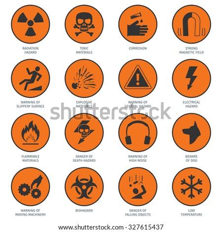Death and dangerous hazard black on orange icons set isolated  illustration - stock photo